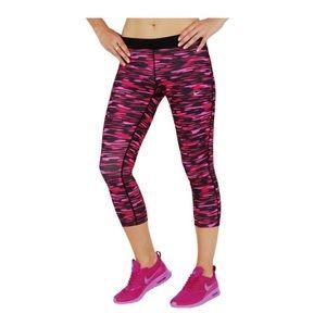 New Nike Relay Dri Fit Crop Pants Pink Camo Print